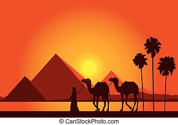 Egypt Great Pyramids with Camel caravan on sunset background...