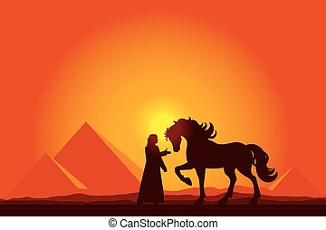 Egypt Great Pyramids with silhouette of Bedouin and horse on sun