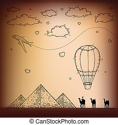 Egypt. Hand drawn Travel and tourism background.