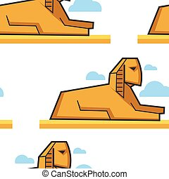 Sphinx Egyptian architecture seamless pattern famous...