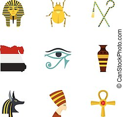 Egypt history icons set, cartoon style