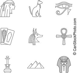 Egypt history icons set, outline style - Egypt history icons...
