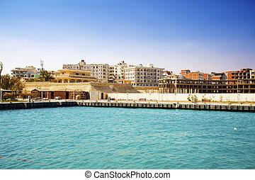 Egypt. Hurhgada. View from the sea.