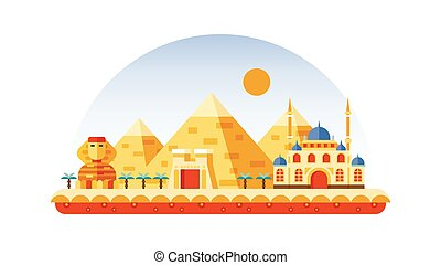 Egypt icon in flat style