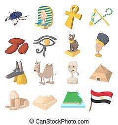 Egypt icons cartoon