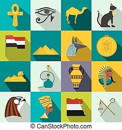 Egypt icons flat