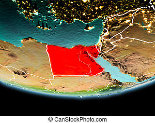 Egypt in red in the evening
