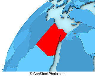 Egypt in red on blue globe