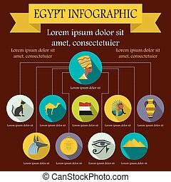 Egypt infographic elements, flat style