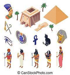 Egypt Isometric Set - Egypt cultural symbols landmarks and...