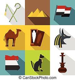 Egypt landmarks icon set, flat style