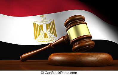 Egypt law, legal system and justice concept with a 3d Rendering of a gavel on a wooden desktop and the Egyptian flag on background.