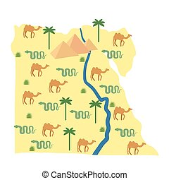 Egypt map. Characters and attractions of Egypt: pyramids and...