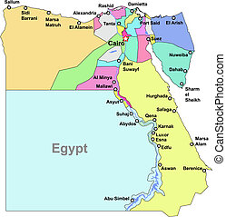 Egypt map - Color Egypt vector map with regions over white