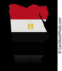 Egypt map flag with reflection illustration