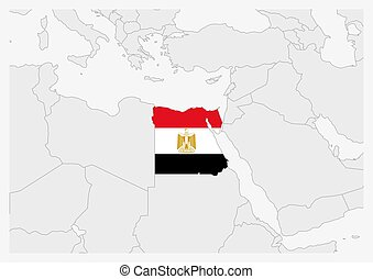 Egypt map highlighted in Egypt flag colors, gray map with neighboring countries.