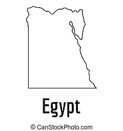 Egypt map thin line simple