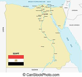 egypt map with flag