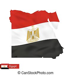 Egypt map with waving flag of country.