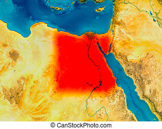 Egypt on physical map