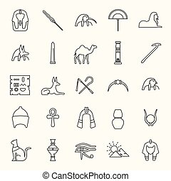 Egypt outline Icons set. Vector illustration with Egypt...