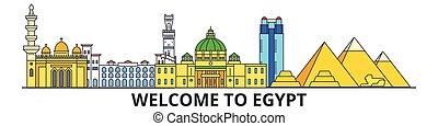 Egypt outline skyline, Egyptian flat thin line icons, landmarks, illustrations. Egypt cityscape, Egyptian travel city vector banner. Urban silhouette