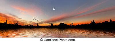 Egypt Panorama - Egyptian panorama with Giza Pyramids, Cairo...