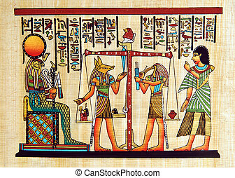 Egypt papyrus - Papyrus with elements of egyptian ancient...