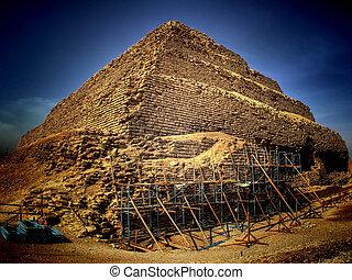 (egypt), paso, pirámide,  Saqqara,  djoser