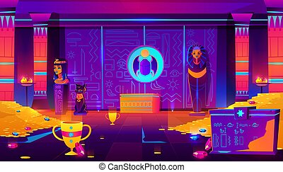 Egypt pharaoh ancient treasury cartoon vector
