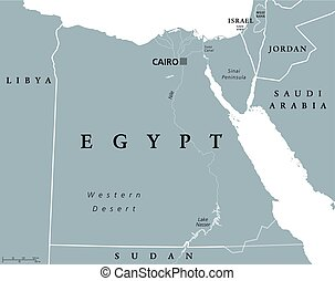 Egypt political map with capital Cairo