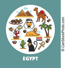 Egypt promotional poster with national symbols and architecture