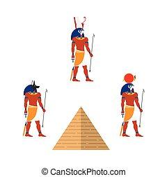 Egypt pyramid and ancient gods - Ra, Anubis, Isis - Set of...