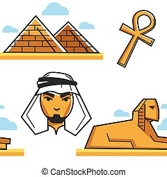 Egypt Pyramid and Sphinx Bedouin and coptic cross seamless...
