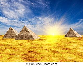 Egypt pyramid and sun beams