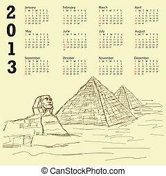 egypt pyramid vintage 2013 calendar