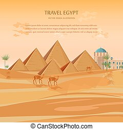 Egypt pyramids card background Vector. Desert view with camels