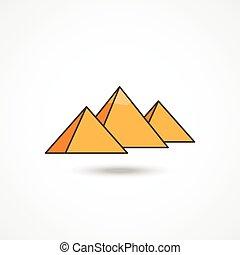 Egypt pyramids icon with shadow on white