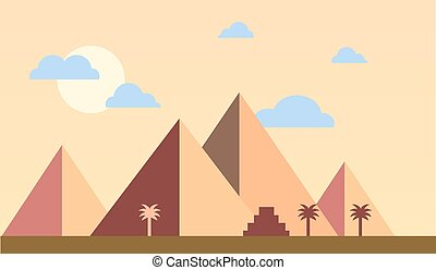 Egypt pyramids with palms in desert flat design. Travel concept famous Sunset Vector Illustration.