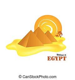 egypt pyramids with sun