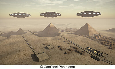 A 3D rendered image of the Giza platform Egypt. Above the monumental tombs and pyramids hoovering some futuristic UFOs.