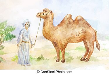 Egypt  scene with camel and chasseur
