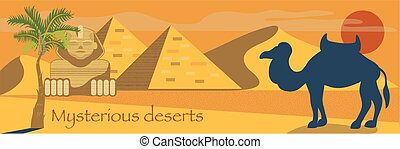 Egypt set, Egyptian ancient symbols, mysterious desserts, sacred animals vector Illustrations