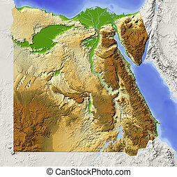 Egypt, shaded relief map - Egypt. Shaded relief map with ...