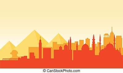 Egypt silhouette architecture buildings town city country travel