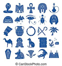 Egypt silhouette icons set in flat style