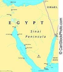 Egypt, Sinai Peninsula political map
