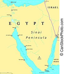Egypt, Sinai Peninsula political map