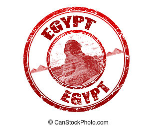 Egypt stamp - Red grunge rubber stamp with sphinx, shape and...