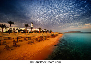 egypt sunset - sunset and turquoise ocean in sharm el...